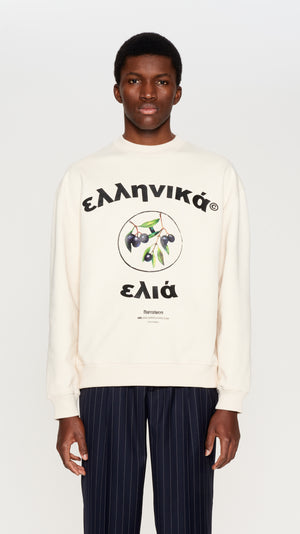 Ivory embroidered & printed crewneck