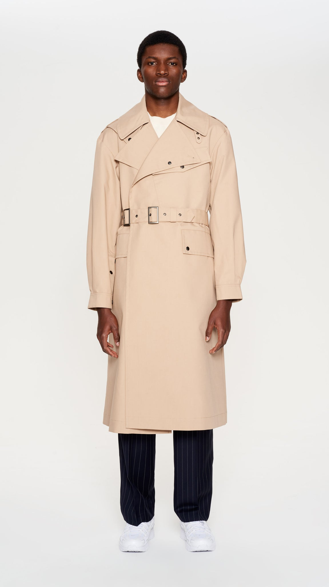 Beige double belted trenchcoat (4404271841345)