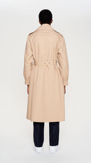Beige double belted trenchcoat