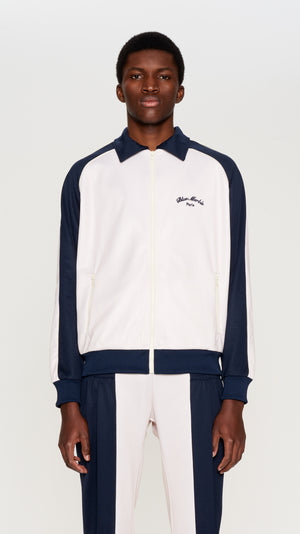 Navy & ivory poly track jacket