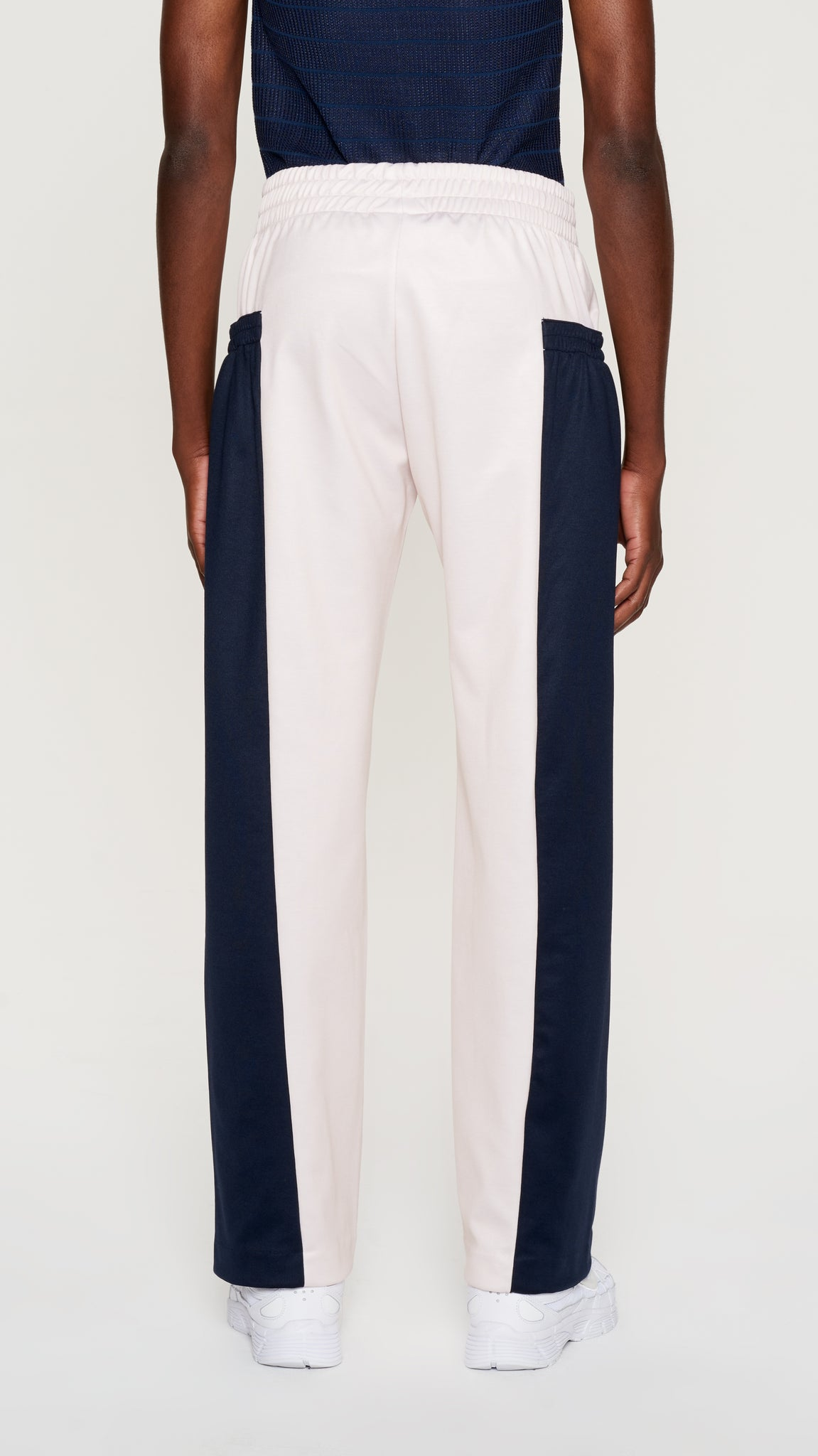Ivory & navy poly track pants (4405532098625)