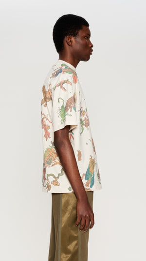 Ivory all over printed T-shirt