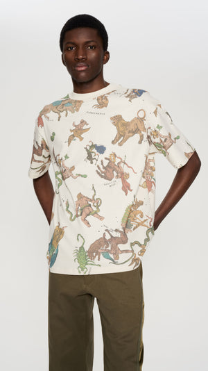 "IVORY ALL OVER ""ASTRO"" PRINTED T-SHIRT"