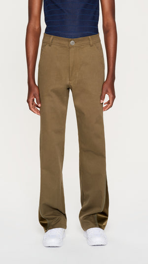Khaki satin & twill pants (4404242022465)