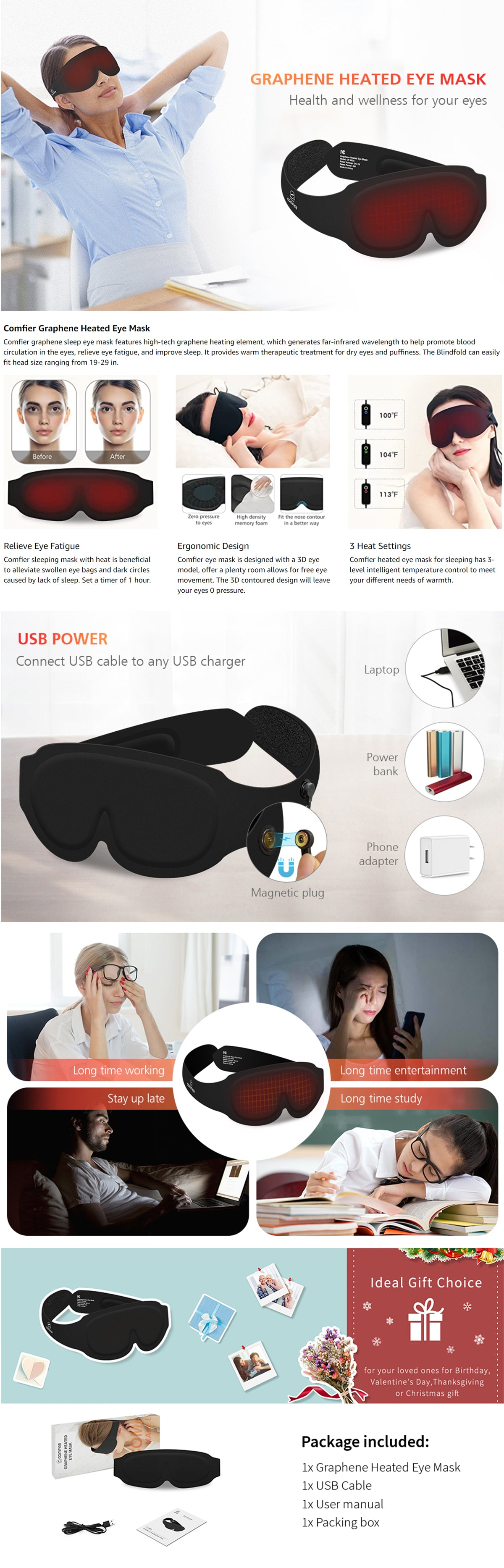 Comfier Graphene Heated Eye Mask, Sleep Mask for Women,Men, 3 Heat Settings Eye Massager with Heat, Warm Therapy Sleep Marks for Dark Circles, Block Out Light, Eye Shade Cover for Travel
