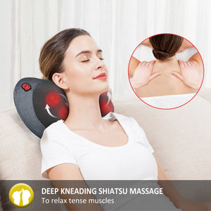 Comfier Neck and Back Massager with Heat-Shiatsu Massage Pillow