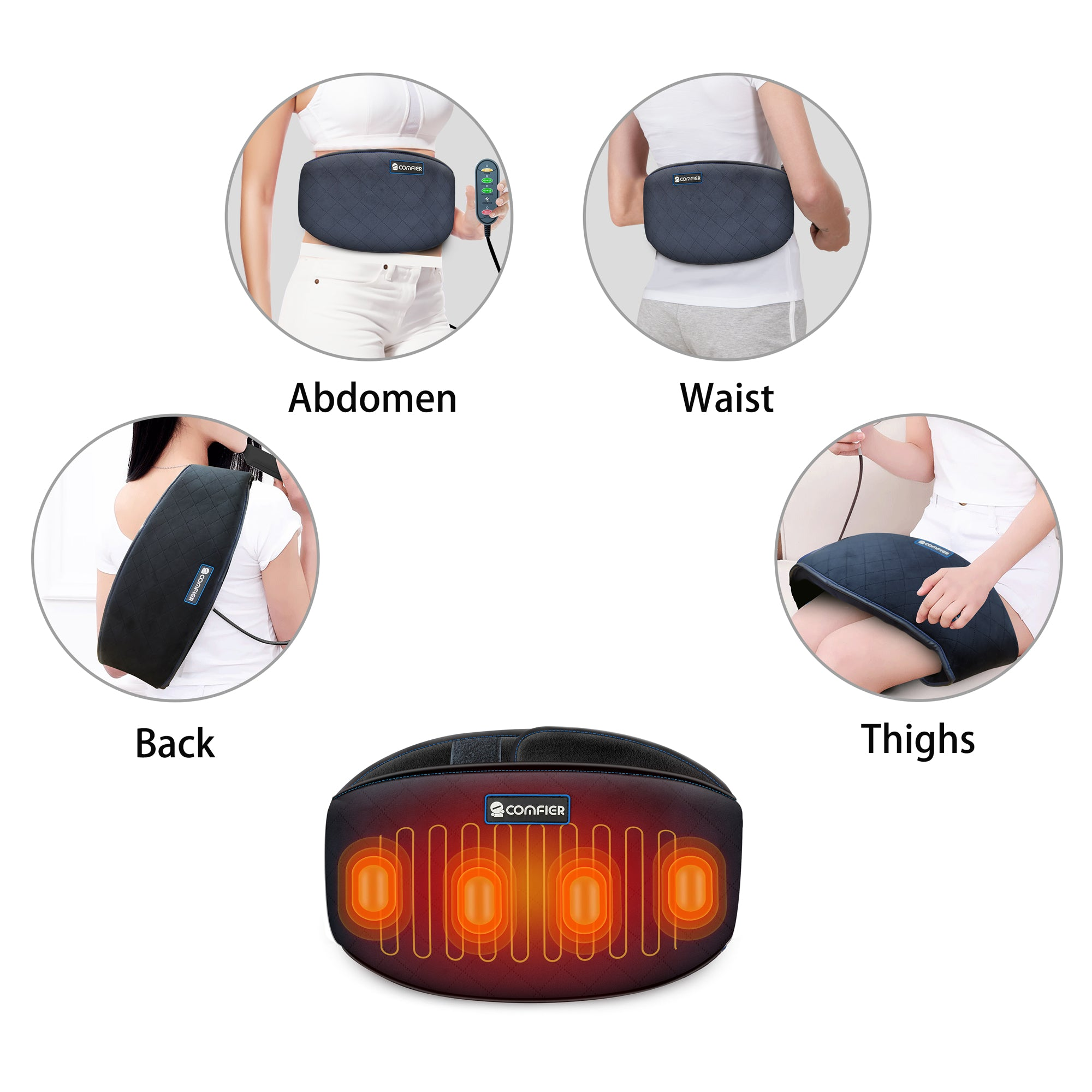 Comfier Heating Pad,Heated Waist Belt Wrap with Vibration Massage - 6006N