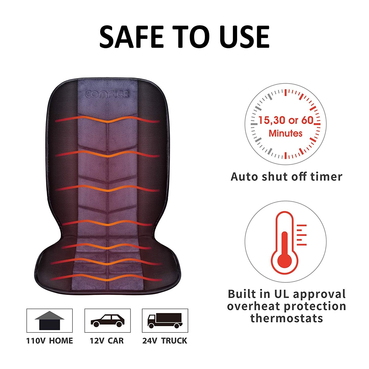 Comfier Heated Car Seat Cushion Deluxe