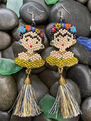 TASSEL FRIDA KAHLO BEADED EARRINGS