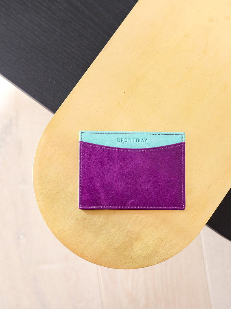 Travelcard cuir vintage - Purple