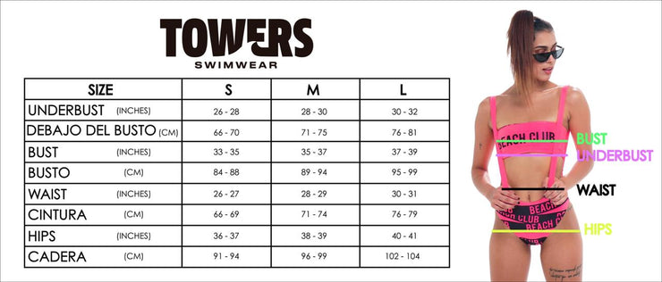 TOWERS SWIMWEAR SIZE CHART