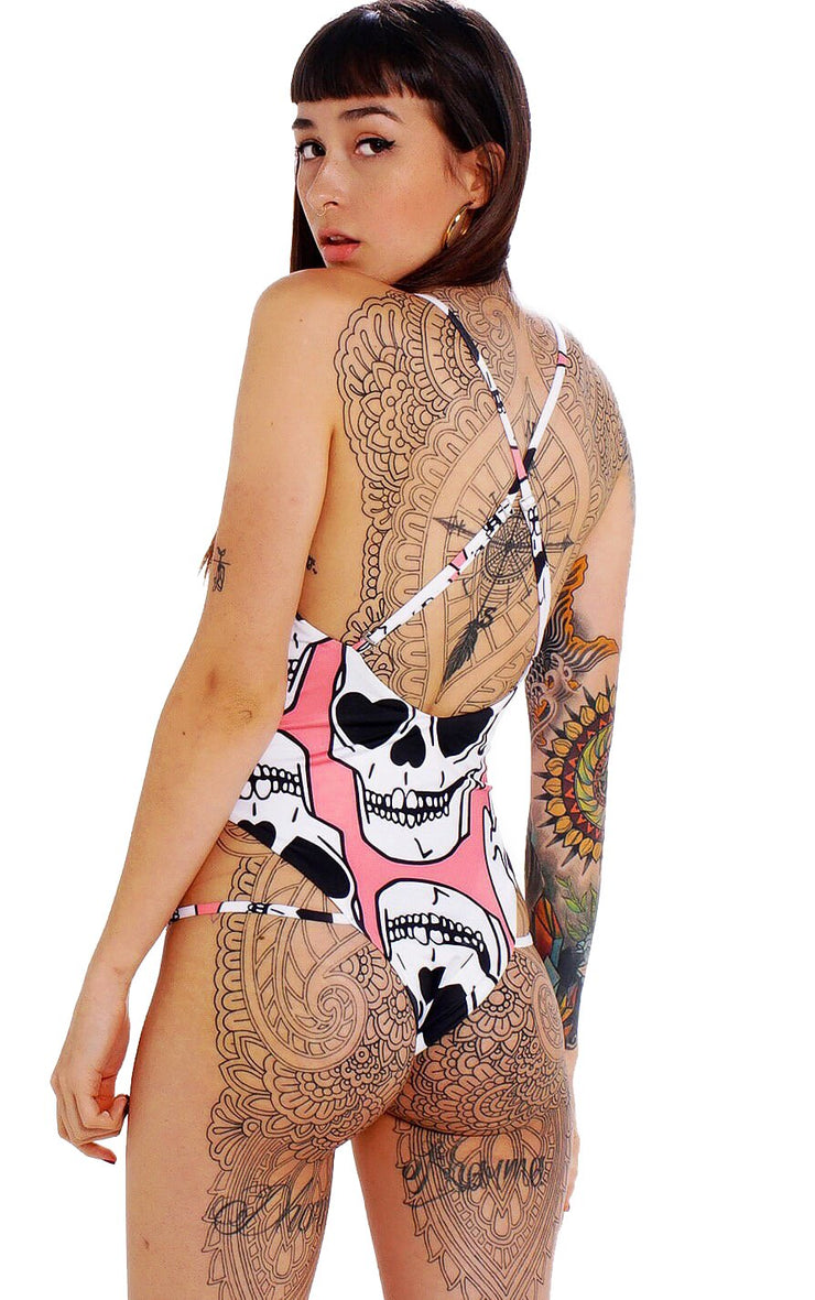 FUTURE PINK SKULL SWIMSUIT