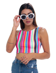 COLOR LINES CROP TOP