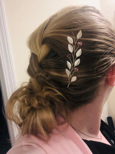 Silver & Pink Swarovski Crystal Braid Vine (SHORT) | Casual Updo Hair Accessories