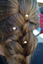 Load image into Gallery viewer, BRANDIE - Blush Faceted Freshwater Pearl Hairpins (SET OF 3 PINS)