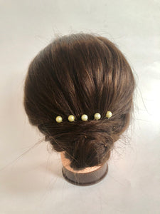 Set of Pale Yellow Pearl Hair Pins (Set of 3) | Bridal Pearl Pins, Wedding Hair Accessories