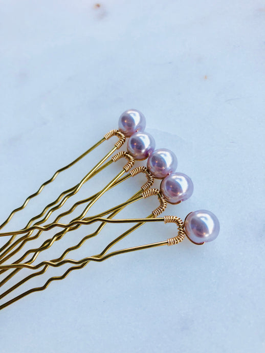 Set of Lilac Pearl Hair Pins (Set of 3) | Light Purple Pearl Hair Pins, Bridal Pearl Pins
