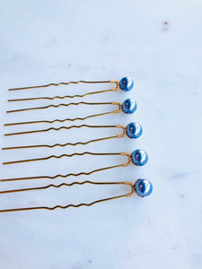 Set of Indigo Pearl Hair Pins (3+) | Grey Blue Pearl Hair Pins, Bridal Pearl Pins