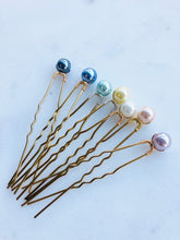 Load image into Gallery viewer, Set of Indigo Pearl Hair Pins (3+) | Grey Blue Pearl Hair Pins, Bridal Pearl Pins
