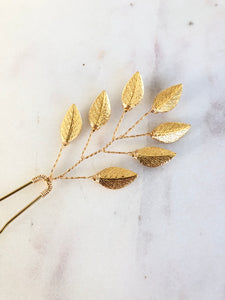 Branched Gold Updo Hair Pins (1+) | Gold Leaf Hair Pins, Minimalist Hair Accessories