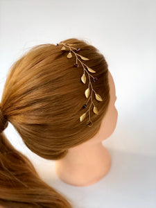 Simple Gold & Amethyst Crystal Braid Vine | Swarovski Crystal Hair Vine, Bridal Hair Wreath