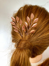 Load image into Gallery viewer, Branched Rose Gold Updo Hair Pins (1+) | Rose Gold Leaf Hair Pins, Simple Hair Accessories