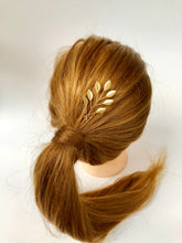 Load image into Gallery viewer, Branched Gold Updo Hair Pins (1+) | Gold Leaf Hair Pins, Minimalist Hair Accessories
