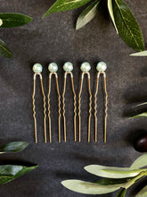 Load image into Gallery viewer, Set of Light Blue Pearl Hair Pins (3+) | Something Blue Hair Pins, Bridal Pearl Pins, Wedding Hair