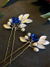 Load image into Gallery viewer, SILVER Something Blue Pins (1+) | Pearl & Crystal Hair Pins, Blue and Silver Bridal Pins