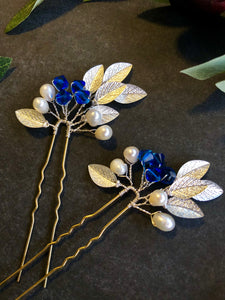 SILVER Something Blue Pins (1+) | Pearl & Crystal Hair Pins, Blue and Silver Bridal Pins