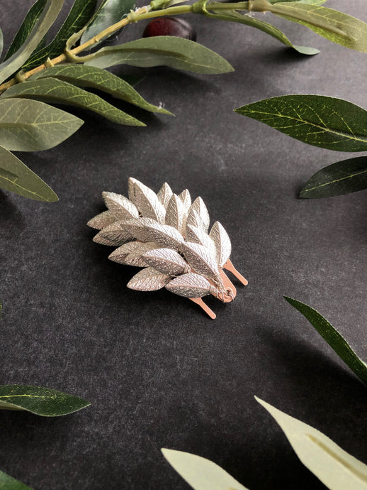 Leaf Hair Barrette | Metal Hair Barrette, Bridal Hair Clip, Leaf Hairpiece, Vine Hair Clip