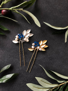 GOLD Something Blue Pins (1+) | Pearl & Crystal Hair Pins, Blue and Gold Date Night Pins