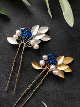 Load image into Gallery viewer, GOLD Something Blue Pins (1+) | Pearl & Crystal Hair Pins, Blue and Gold Bridal Pins