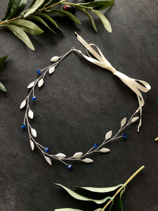 Simple Something Blue Hair Vine for Short Hair | Crystal Headband, Silver Bridal Hair Vine