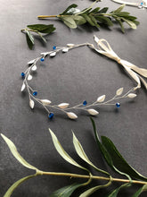 Load image into Gallery viewer, Simple Something Blue Hair Vine for Short Hair | Crystal Headband, Silver Bridal Hair Vine