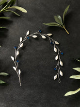 Load image into Gallery viewer, Capri Blue & Silver Crystal Braid Vine | Something Blue Bridal Hair Vine, Bridal Hair Wreath