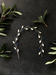 Capri Blue & Silver Crystal Braid Vine | Something Blue Bridal Hair Vine, Bridal Hair Wreath