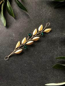 Gold & Emerald Short Braid Vine | Casual Updo Hair Accessories, Crystal Hair Vine