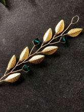 Load image into Gallery viewer, Gold & Emerald Short Braid Vine | Casual Updo Hair Accessories, Crystal Hair Vine