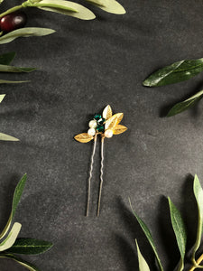 GOLD & Emerald Crystal Hair Pins (1+) | Emerald Green Bridal Hair Pins, Pearl Headpiece