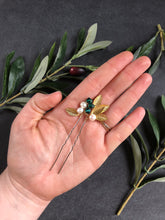 Load image into Gallery viewer, GOLD & Emerald Crystal Hair Pins (1+) | Emerald Green Bridal Hair Pins, Pearl Headpiece