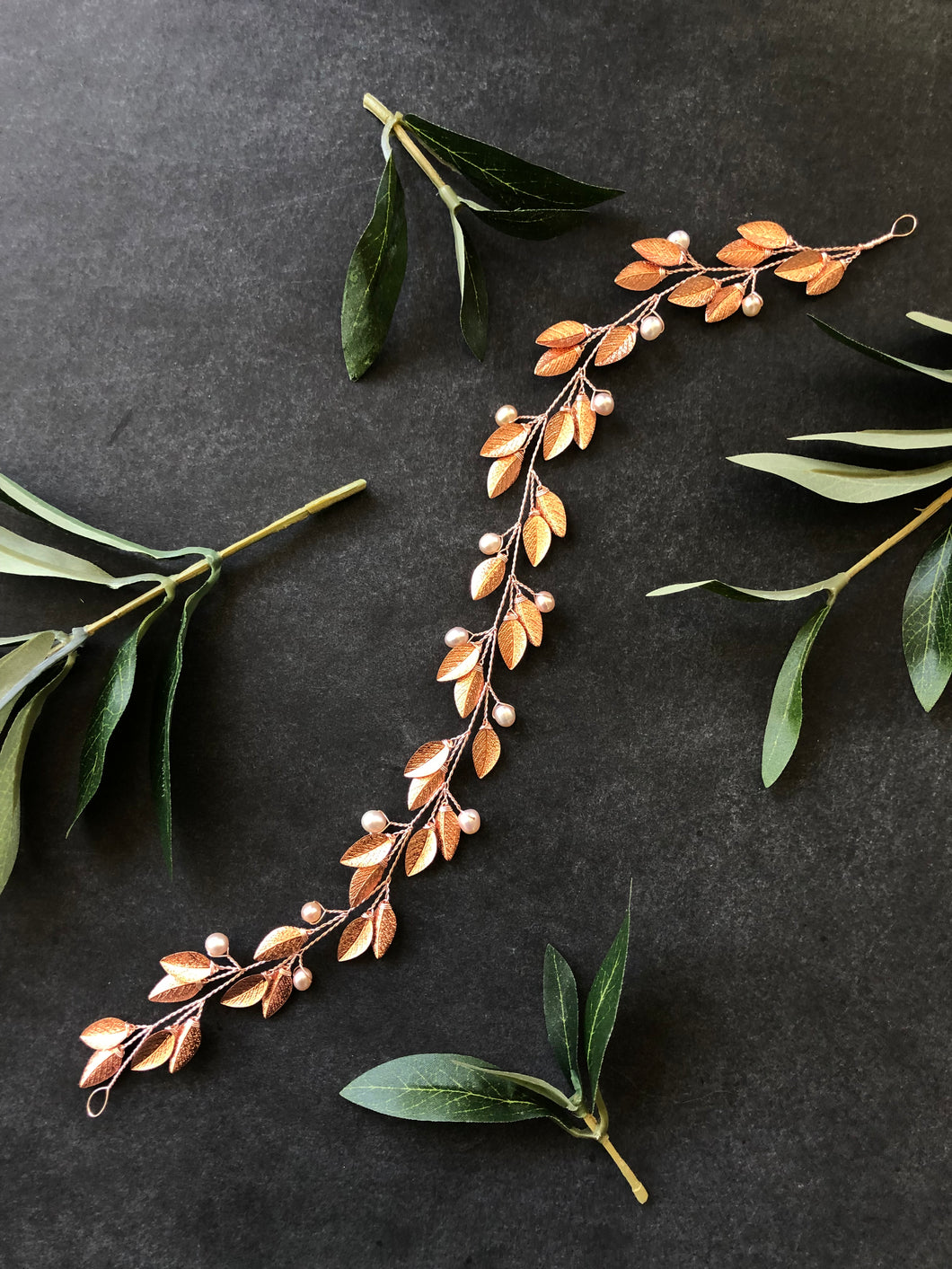 ROSE GOLD & BLUSH Pearl Bridal Hair Vine | Feather Bridal Hair Vine, Freshwater Pearl Braid Vine