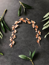 Load image into Gallery viewer, ROSE GOLD & BLUSH Pearl Bridal Hair Vine | Feather Bridal Hair Vine, Freshwater Pearl Braid Vine