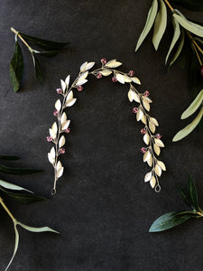 Silver & Light Rose Crystal Bridal Braid Vine | Pink Swarovski Crystal Hair Vine, Festival Vine