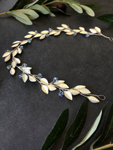 Load image into Gallery viewer, Something Blue Bridal Hair Vine | SILVER & BLUE Feather Bridal Hair Vine, Festival Braid Vine