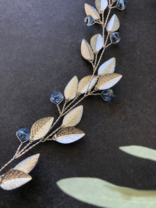 Something Blue Bridal Hair Vine | SILVER & BLUE Feather Bridal Hair Vine, Festival Braid Vine