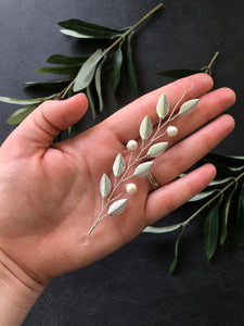 SILVER & Pearl Medium Braid Vine | Casual Updo Hair Accessories, Pearl Hair Vine, Hair Accessory