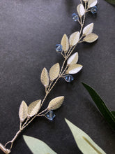 Load image into Gallery viewer, Something Blue Bridal Hair Vine for Short Hair | SILVER & BLUE Bridal Headband, Crystal Braid Vine