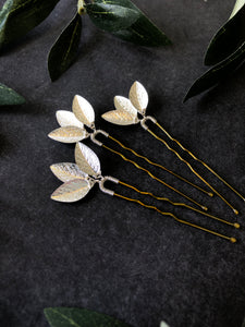 Classic Silver Updo Hair Pins (1+) | Silver Leaf Hair Pins, Minimalist Hair Accessories