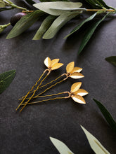 Load image into Gallery viewer, Classic Gold Updo Hair Pins (1+) | Gold Leaf Hair Pins, Minimalist Hair Accessories